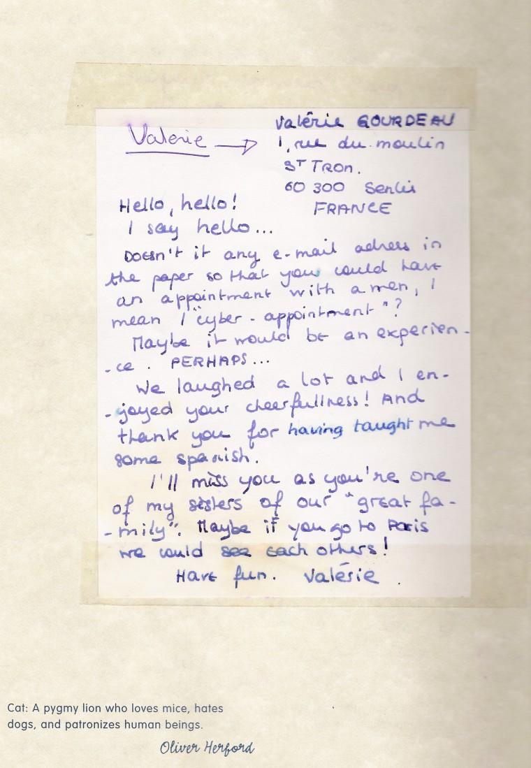 A contribución de Valerie ao meu diario da viaxe! ;)