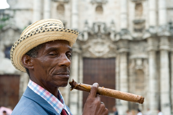 Man smoking cigar