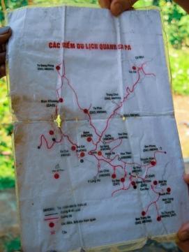 Mapa de Sapa y las etnias